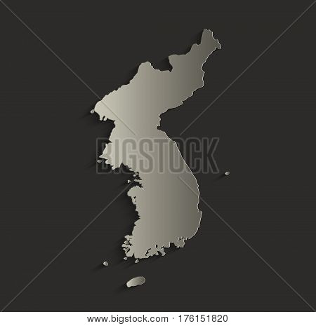 Korea map outline card blank black raster