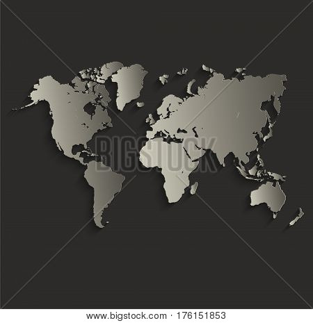 World map outline card blank black raster