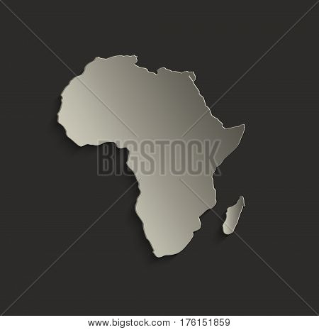Africa map outline card blank black raster