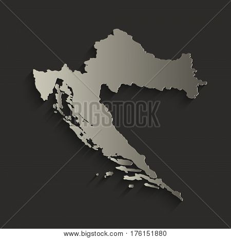 Croatia map outline card blank black raster