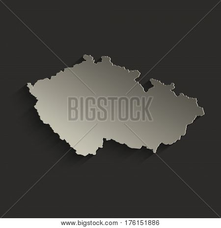 Czech republic map outline card blank black raster