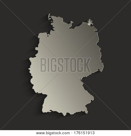 Germany map outline card blank black raster