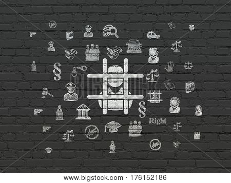 Law concept: Painted white Criminal icon on Black Brick wall background with  Hand Drawn Law Icons