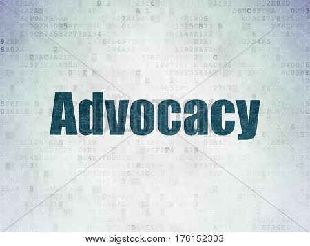 Law concept: Painted blue word Advocacy on Digital Data Paper background