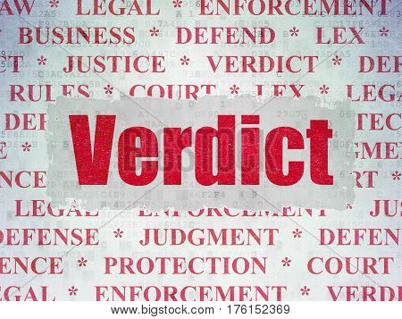 Law concept: Painted red text Verdict on Digital Data Paper background with   Tag Cloud