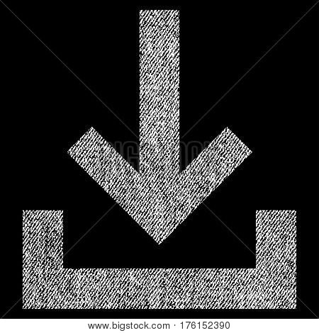 Inbox vector textured icon for overlay watermark stamps. Fabric white vectorized texture. Symbol with scratched design. Rubber seal stamp with fiber textile structure.