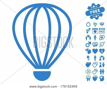 Aerostat pictograph with bonus dating clip art. Vector illustration style is flat iconic cobalt symbols on white background.