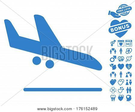 Aiplane Landing icon with bonus lovely pictograph collection. Vector illustration style is flat iconic cobalt symbols on white background.