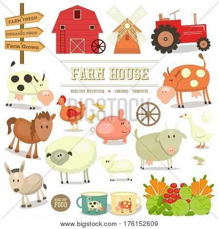 Farm Elements Collection. Livestock Animals. Fresh Healthy Organic Food Stickers. Isolated on White Background. Vector Illustration.