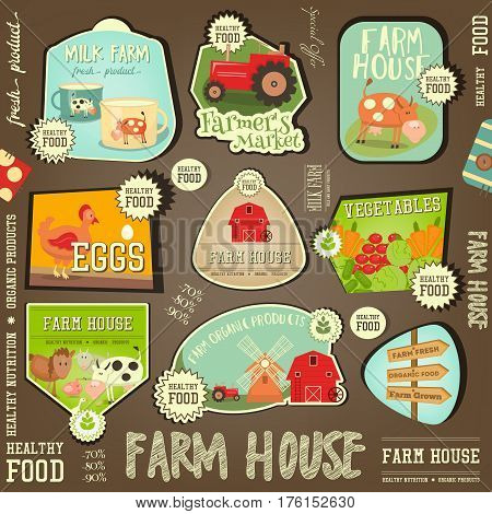 Set Labels for Farm Product. Fresh Healthy Organic Food Stickers. Vector Illustration.