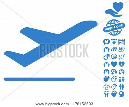 Airplane Departure icon with bonus dating icon set. Vector illustration style is flat iconic cobalt symbols on white background.