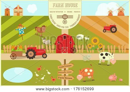 Farm House Card. Farmers Market. Healthy Food Organic Products and Farming Concept. Retro Style. Vector Illustration.