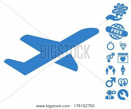 Airplane Takeoff icon with bonus valentine graphic icons. Vector illustration style is flat iconic cobalt symbols on white background.