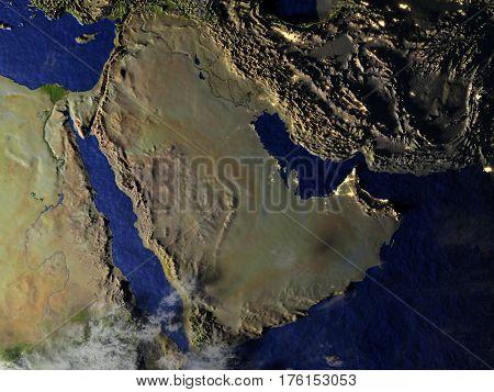 Arab Peninsula On Realistic Model Of Earth