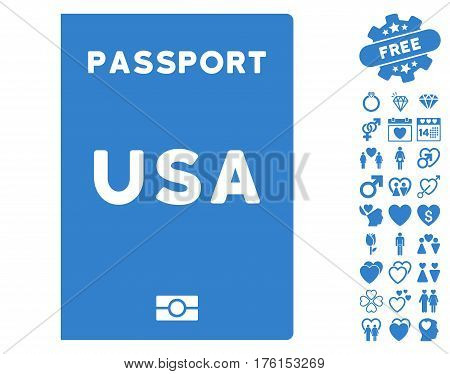 American Passport pictograph with bonus dating symbols. Vector illustration style is flat iconic cobalt symbols on white background.