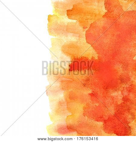 Orange watercolor abstract background with brush strokes. Element for your design