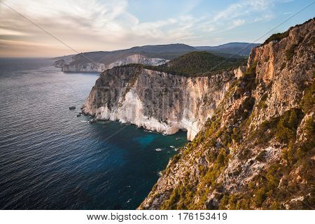 Coastal landscape of Cape Keri. Greek resort island Zakynthos in the Ionian Sea