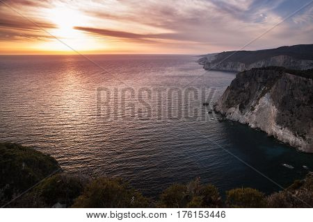 Coastal Landscape Of Cape Keri At Sunset
