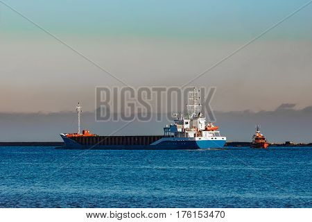 Blue Cargo Ship Leaving Riga