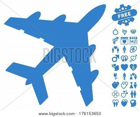 Bomber pictograph with bonus valentine symbols. Vector illustration style is flat iconic cobalt symbols on white background.
