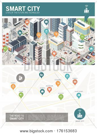 Isometric innovative smart city infographic with pins and conceptual map: urban development sustainability and technology concept
