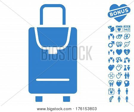 Carryon icon with bonus lovely pictograph collection. Vector illustration style is flat iconic cobalt symbols on white background.
