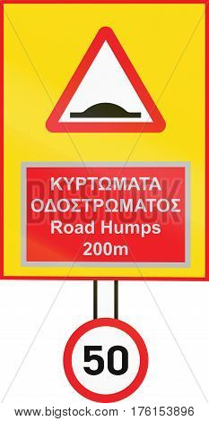 Warning Road Sign And Speed Limit Used In Cyprus In Greek And English Language