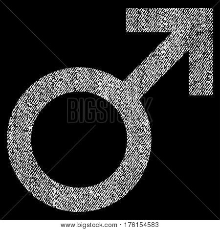 Male Symbol vector textured icon for overlay watermark stamps. Fabric white vectorized texture. Symbol with dirty design. Rubber seal stamp with fiber textile structure.