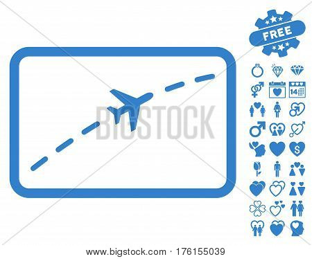 Plane Route icon with bonus lovely graphic icons. Vector illustration style is flat iconic cobalt symbols on white background.