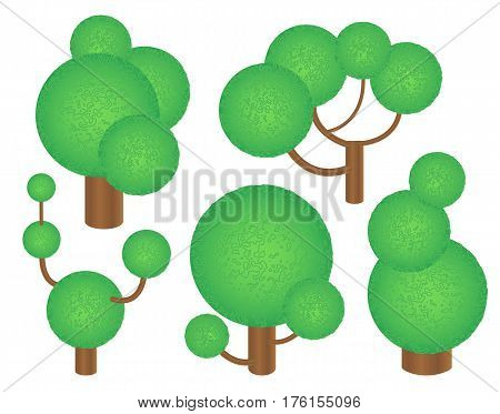 Green trees in futuristic style. Textured trees clipart. Round tree crown with 3D effect. Forest elements isolated on white. Vector trees with round crowns. Cartoon forest clip art. Summer plants