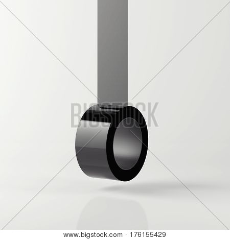 Black sticky tape isolated on black background. 3d rendering