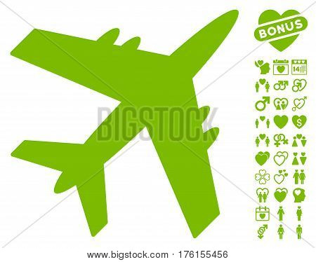 Aircraft pictograph with bonus dating icon set. Vector illustration style is flat iconic eco green symbols on white background.