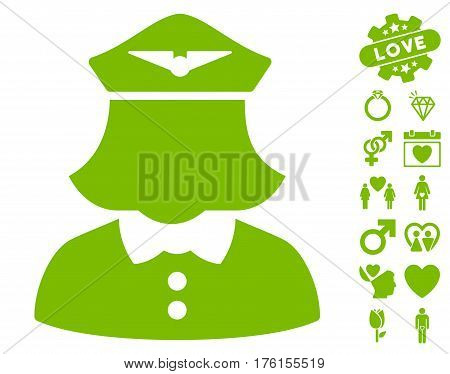Airline Stewardess pictograph with bonus dating pictograph collection. Vector illustration style is flat iconic eco green symbols on white background.