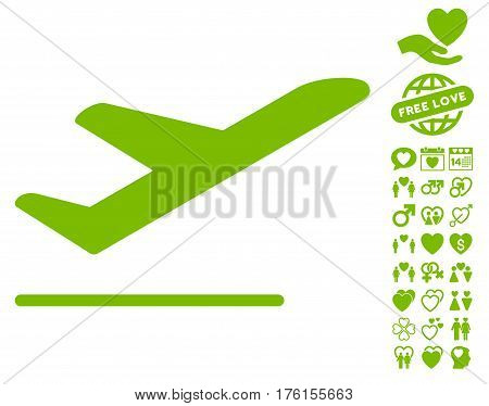 Airplane Departure pictograph with bonus lovely clip art. Vector illustration style is flat iconic eco green symbols on white background.