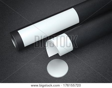 White paper in black cardboard tube. 3d rendering