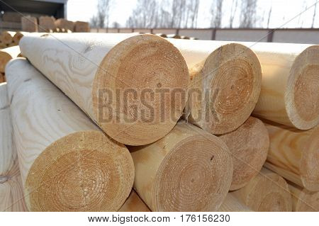 mechanical part is processed at the sawmill of tree trunks