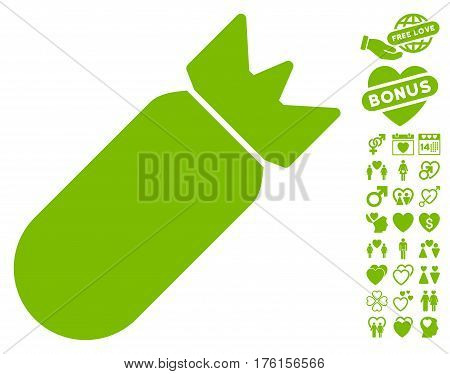 Aviation Bomb pictograph with bonus lovely pictograph collection. Vector illustration style is flat iconic eco green symbols on white background.