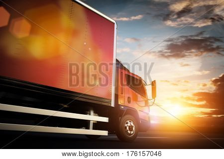 Truck speeding on the highway, side view. Transportation, shipping industry concept. 3D illustration.