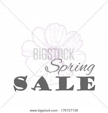 Vector Spring sale template with cosmos flower in pastel colors isolated on a white background. Vintage eco design for label, greeting card, invitation, gift decoration, sale design, scrapbooking.