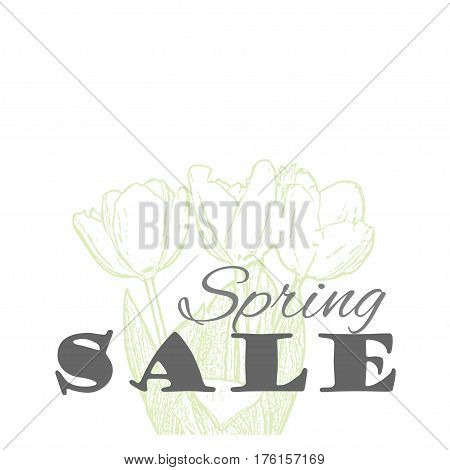 Vector Spring sale template with tulip flowers in pastel colors isolated on a white background. Vintage eco design for label, greeting card, invitation, gift decoration, sale design, scrapbooking.
