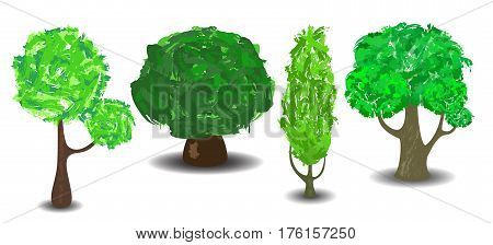 Green tree with brush textured crown. Vector tree clipart on white background. Comic trees with shadow isolated. Summer green trees. Forest elements clip art. Botanical icons. Nature banner template