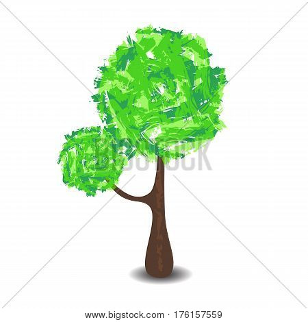 Green tree with brush textured crown vector illustration on white background. Handdrawn tree with summer foliage and shadow. Tall tree with round crown. nursery style forest clipart. Spring nature