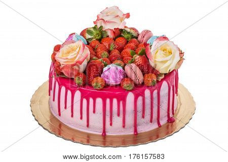 Delicious multi-colored birthday cake. With marshmallows and roses.