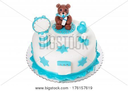 Creative cake for a newborn boy. With a bear. On a white background.