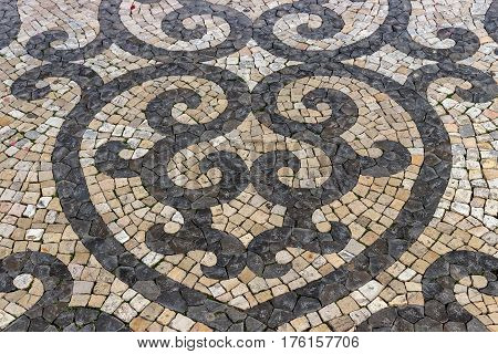 Detail of a portuguese pavement in Albufeira Algarve.