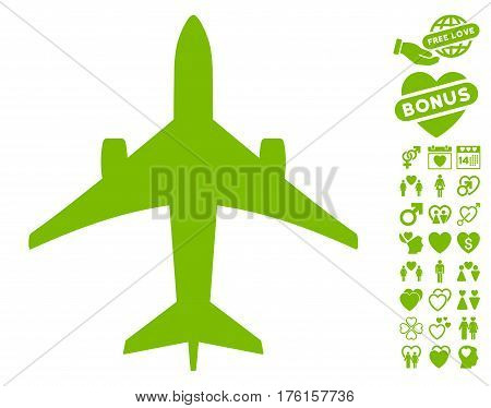 Jet Plane pictograph with bonus dating design elements. Vector illustration style is flat iconic eco green symbols on white background.