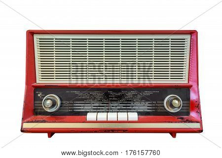 Old radio isolated on white background. Style 50-ies of the 19th century