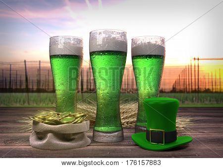 St Patrick's Day concept, green beer, hat, treasure - 3D render