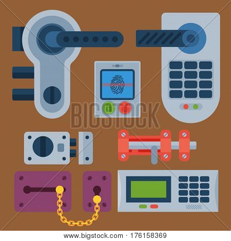 Different house door lock icons set vector safety password privacy element with key and padlock, protection security keyhole vector illustration. Locker close safeguard modern firewall equipment. poster