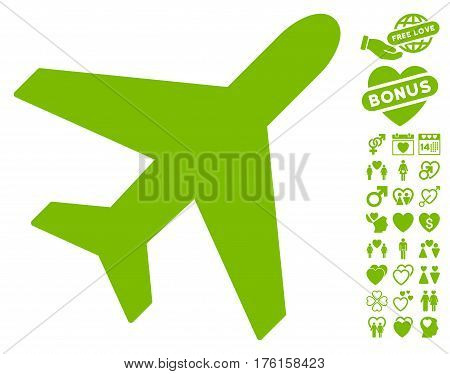 Plane icon with bonus valentine pictograph collection. Vector illustration style is flat iconic eco green symbols on white background.